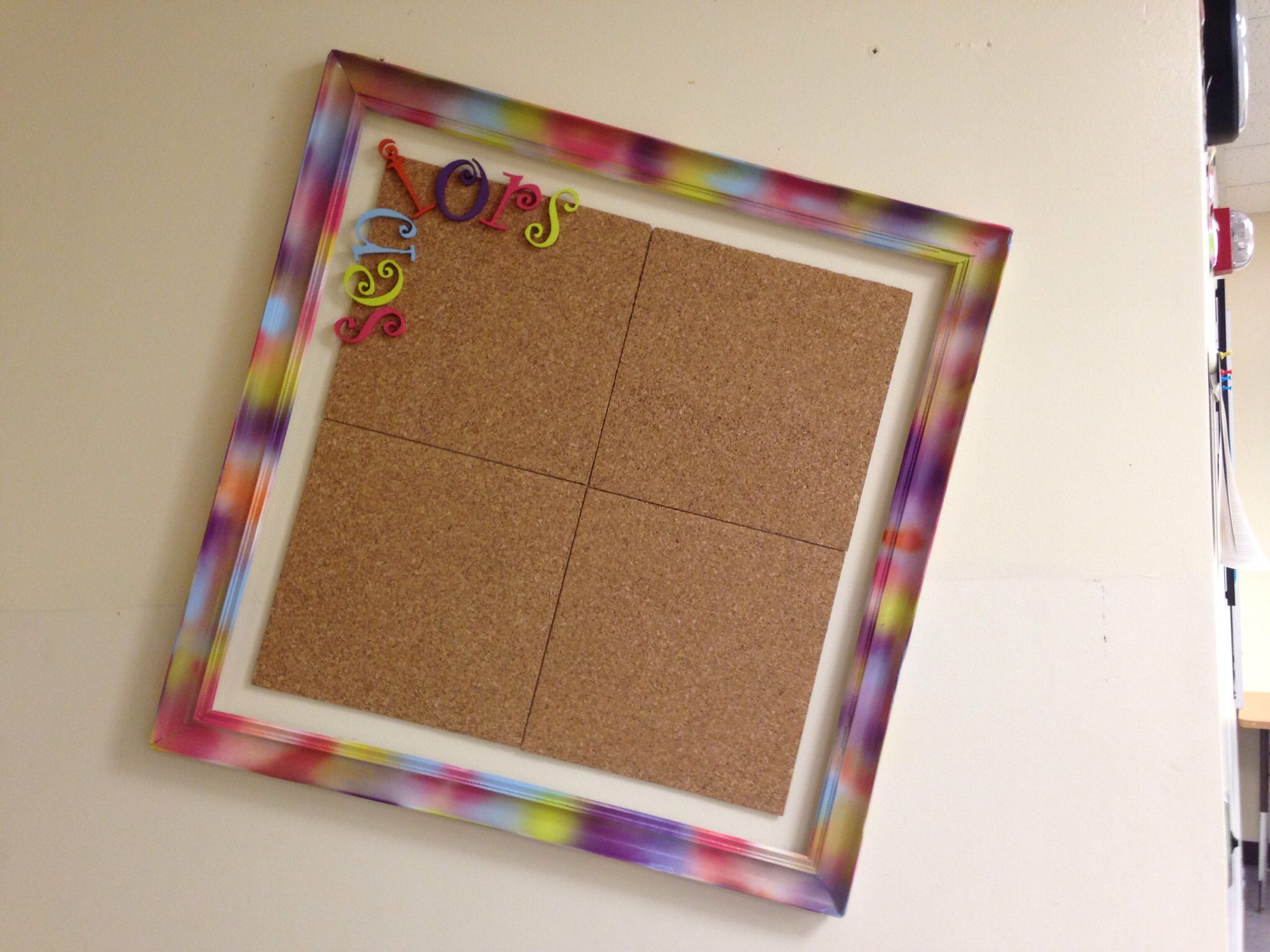 Spray Painted Frame With Cork Board Squares Mounted Inside So