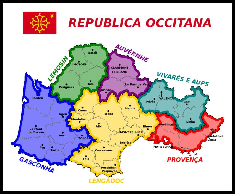 Map Of The Occitan Republic By Matritum Map Alternate History Historical Maps