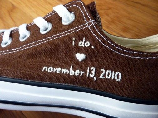 converse embroidered with the wedding date ... if he (whoever he is!) wanted to wear them on the wedding day or for both of us for honeymoon travel!