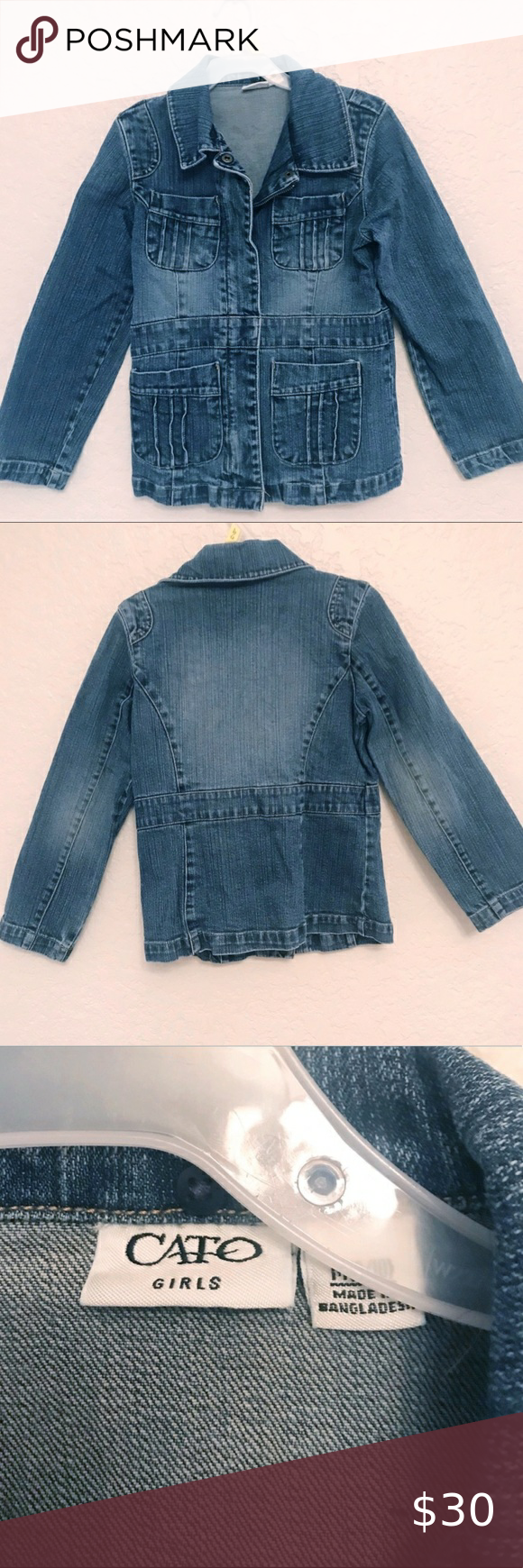 Cato Girls Jean Jacket Cato Girls Jean Jacket Zipper Button Closure Several Pockets Length 19 5 In Flat Across Jean Jacket For Girls Girls Jeans Jackets [ 1740 x 580 Pixel ]