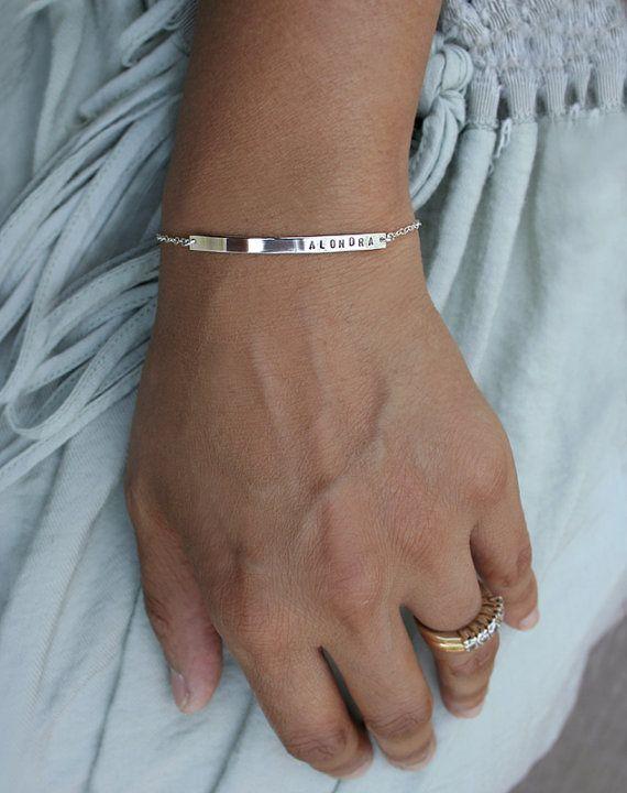 8d7da038faacff Sterling silver personalized skinny bar bracelet by LUCA jewelry. Mommy,  baby name bracelet. Nameplate bracelet