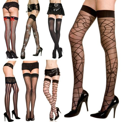 537b7c679f8c6 Sexy Witch Costume Halloween Thigh Highs Black Lacey Pirate Stripe Police  New | eBay