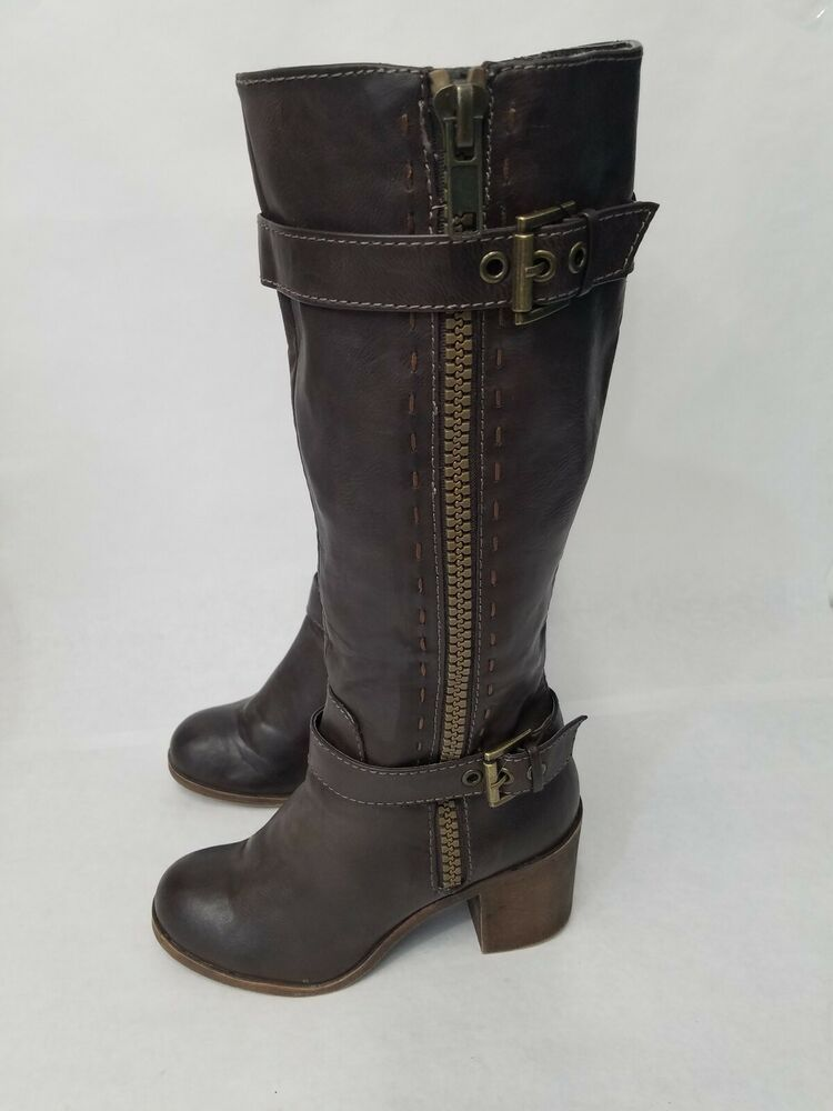 962ba51fc67 ROCK AND CANDY Womens Brown Leather Knee High Chunky Heel Boots Size ...