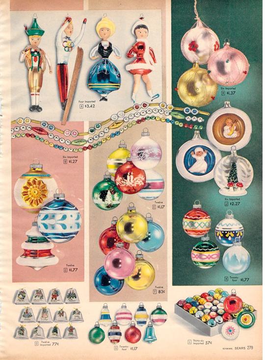 Vintage Christmas Decorations 1950s.Vintage Xmas Ornaments 1956 Sears Vintage Christmas