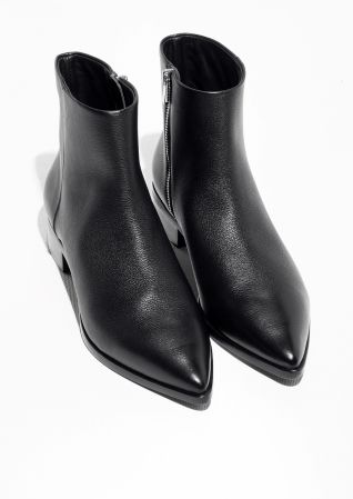 Other Stories image 2 of Pointy Leather Boots in Black   Saappaat ... 26ea9cffd4