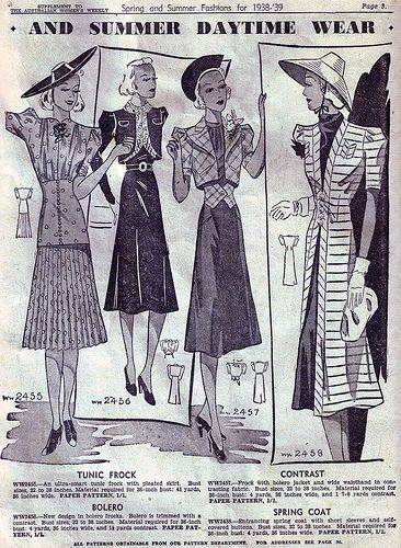 Chic summer daytime wear from 1938-39. #vintage #1930s #fashion #illustrations