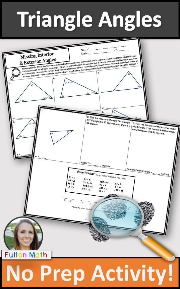 Interior and exterior angles of  triangle activity no prep mystery th th math resources pinterest activities also rh
