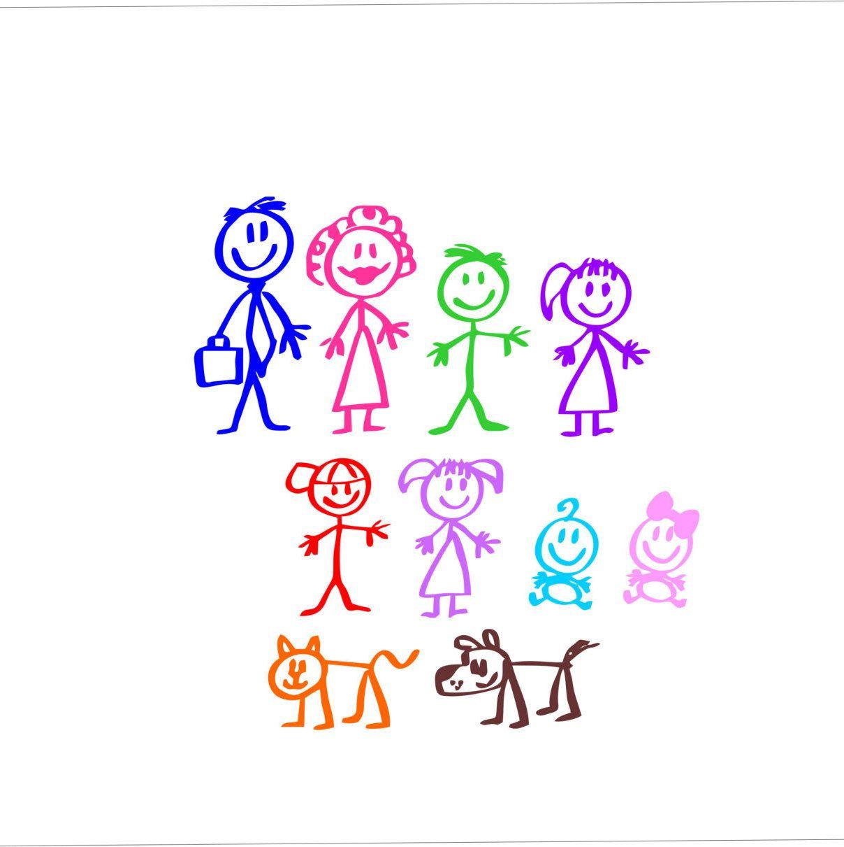 Stick Figure Family Dad Mom Son Daughter Boy Girl Baby Decal Waterproof Weatherproof Car Or Yeti Decal Stick Figure Family Stick Figures Baby Decals [ 1211 x 1208 Pixel ]