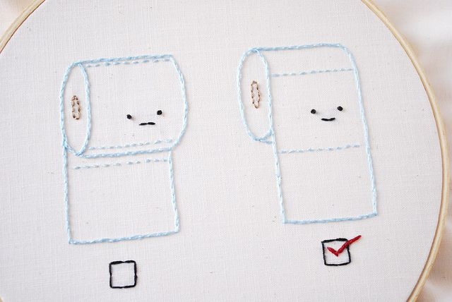 this is on the very top of my list of things to embroider....One for each bathroom