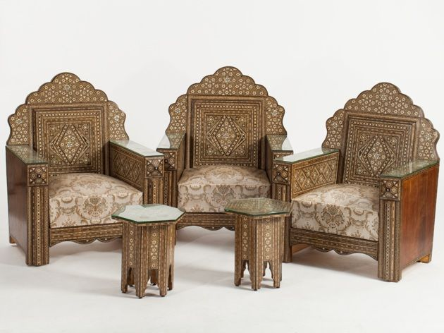 Syrian Living Room Furniture with Elaborate Inlaying ...