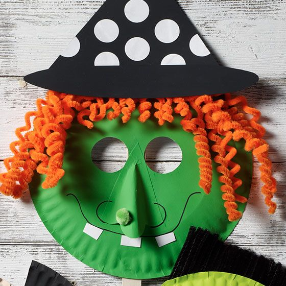 Craft Painting - DIY Witch Paper Plate Mask for Halloween from Plaid  sc 1 st  Pinterest & Witch Paper Plate Mask for Halloween | Paper plate masks Craft ...
