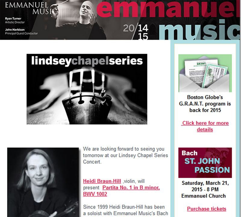 For Emmanuel Music Reminder Email Blast About The Following Days
