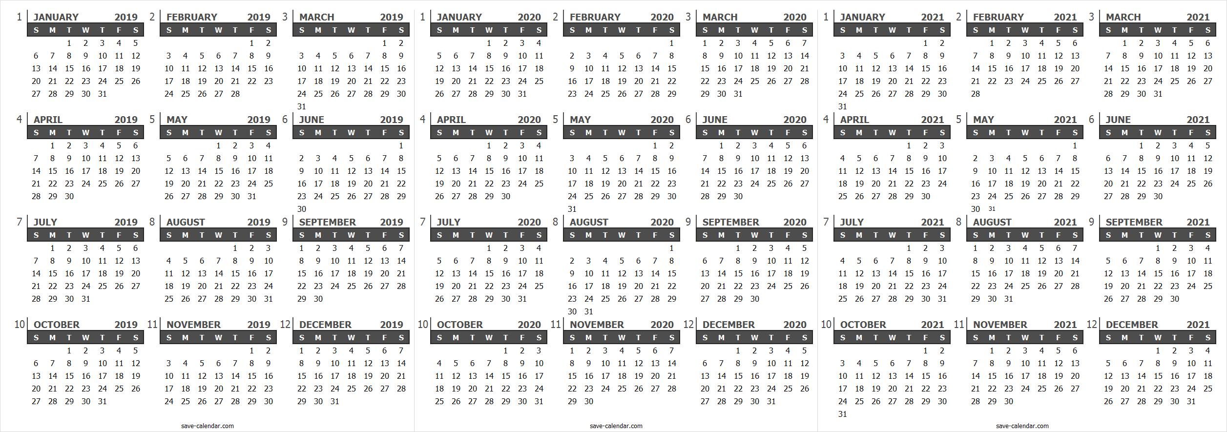 Calendar 2019 2020 2021 Uk Free Printable Calendar Calendar 2019 And 2020 Templates Printable Free