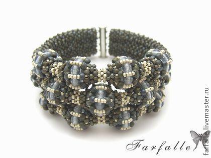 """Браслет """"Манжеты Гвиневры"""" - серый,стильное украшение,широкий браслет"""