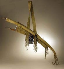 Native American:Weapons, Kiowa Warrior's Bow Case and Quiver. Circa 1870. Length 54 in..This classic set is fashioned from native tanned buf...