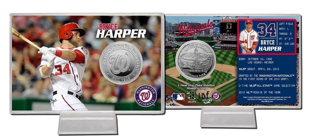 Aaa Sports Memorabilia Llc Washington Nationals Bryce Harper Silver Coin Card Washingtonnationals Natio Washington Nationals Sports Collectibles Coin Card