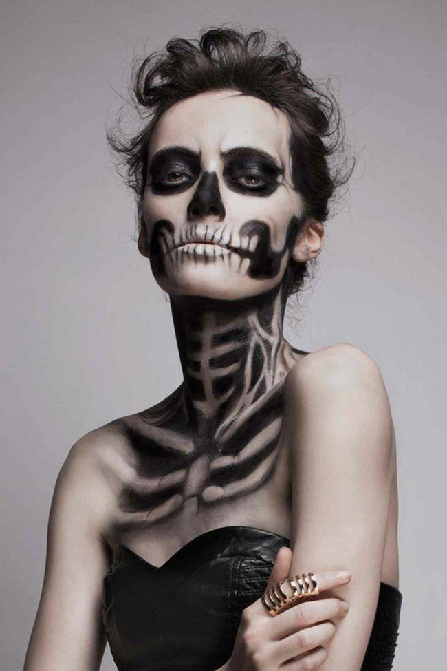 Gesicht Schminken Halloween Skelett
