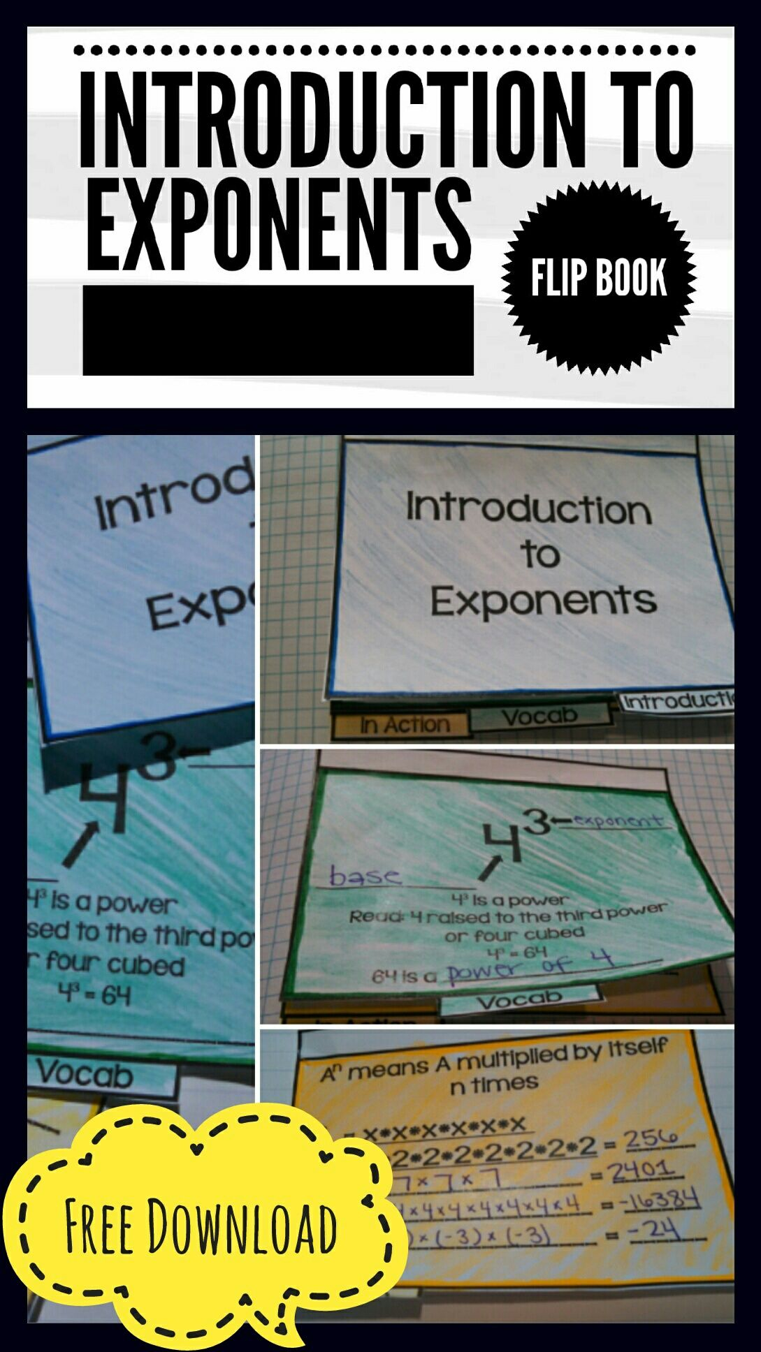 introduction to exponents flip book middle school math escola ideias. Black Bedroom Furniture Sets. Home Design Ideas