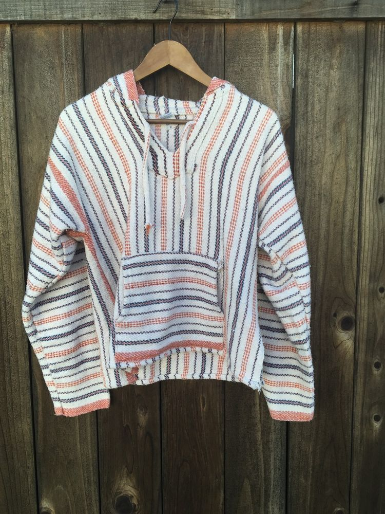711f168c716 Vintage 80s Mexican Poncho Baja Hoodie Surfer Pullover Orange Striped Skater