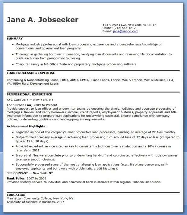 Mortgage Loan Processor Resume Templates Creative Resume Design