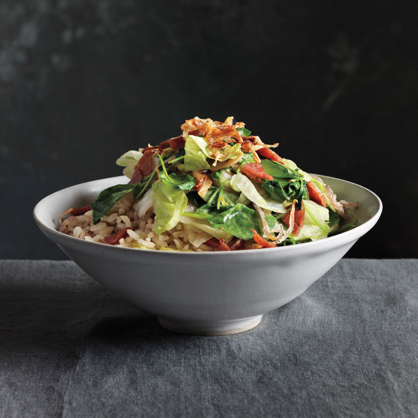 Stir-Fried Lettuces with Crispy Shallots