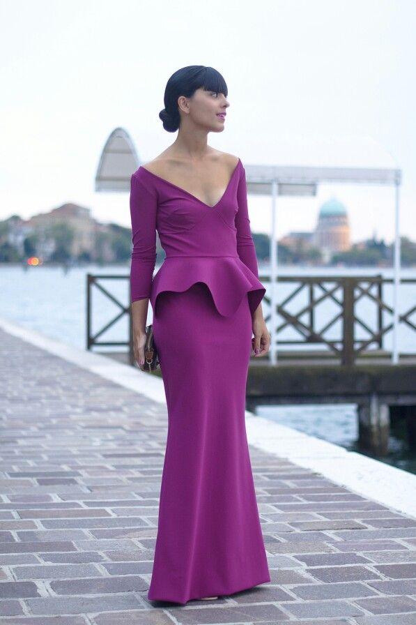 Long peplum purple dress
