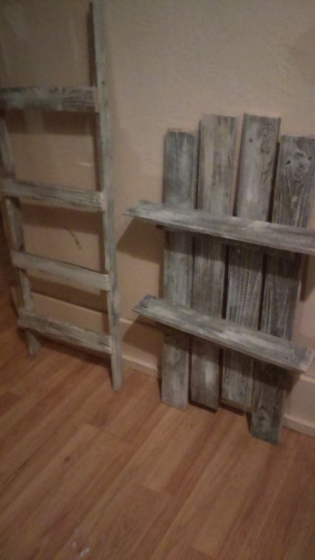Reclaimed Wood Weathered White Color Hanging Shelf And