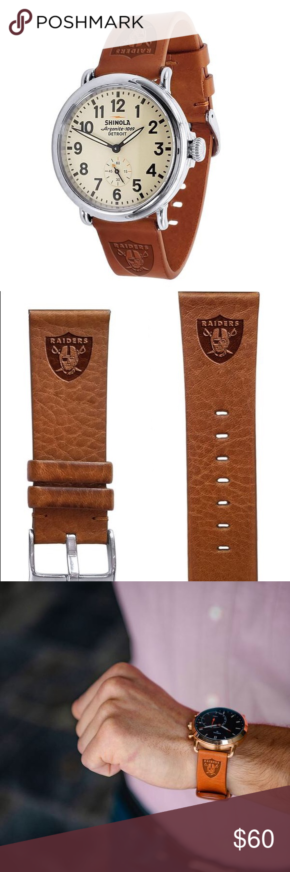 Oakland Raiders Leather Quick Change Watchband This