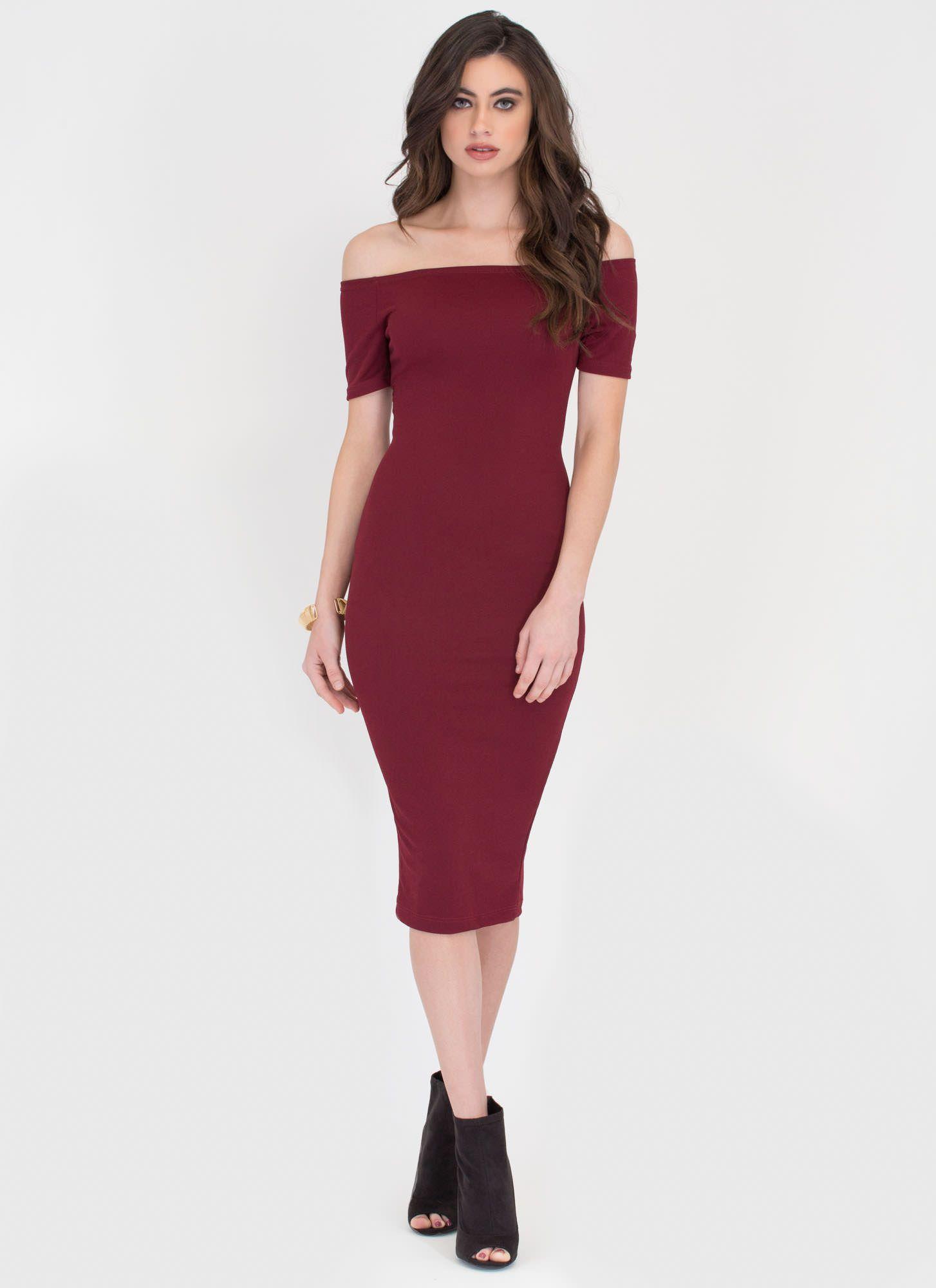 f41a4e234b5e Bardot Babe Off-Shoulder Midi Dress BLACK WINE - GoJane.com ...