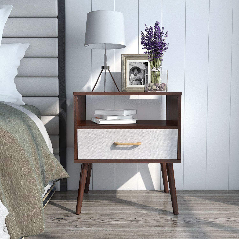 Best Lifewit Mid Century Modern Nightstand With White Drawer 400 x 300