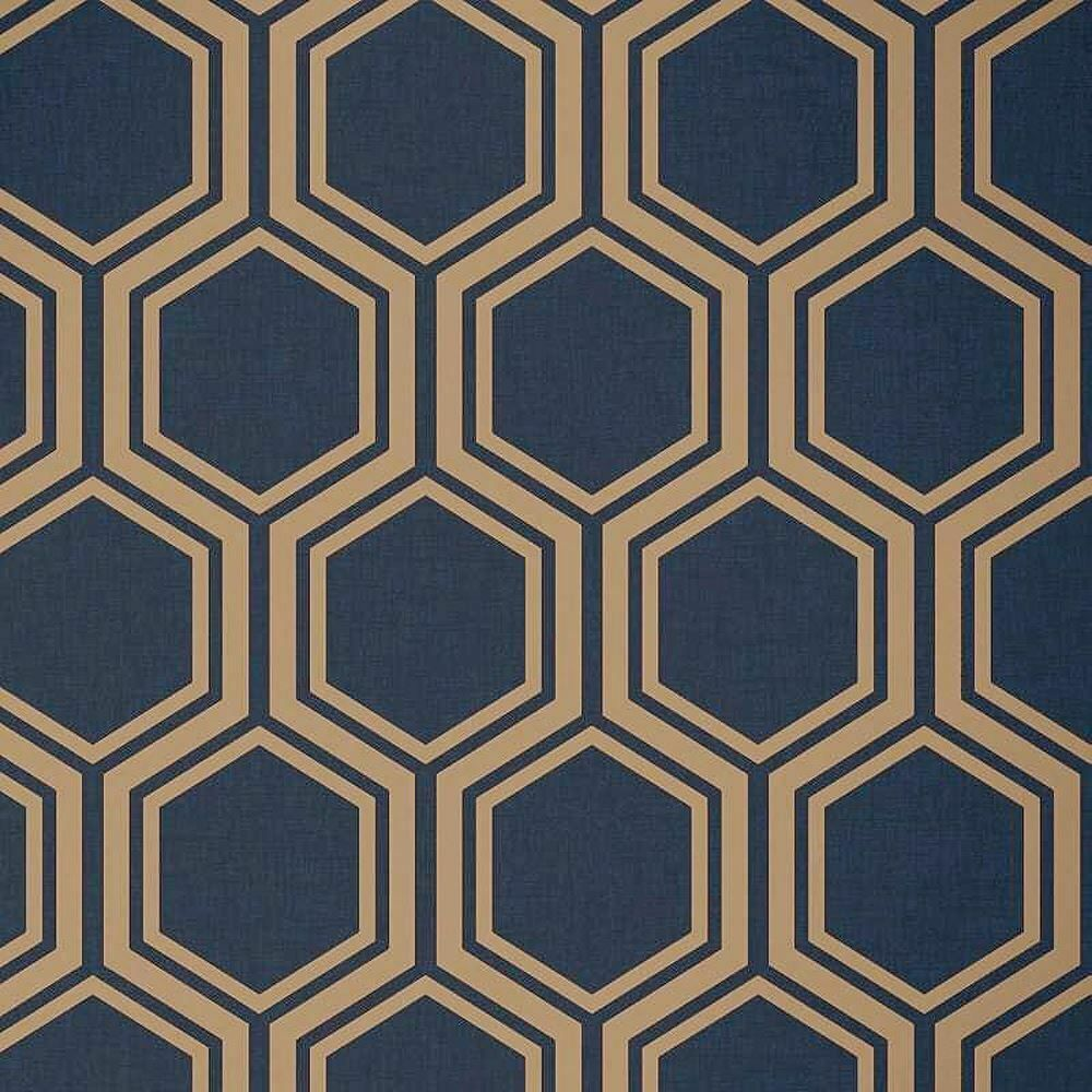 Details about Hexagon Geometric Wallpaper Navy Blue Gold
