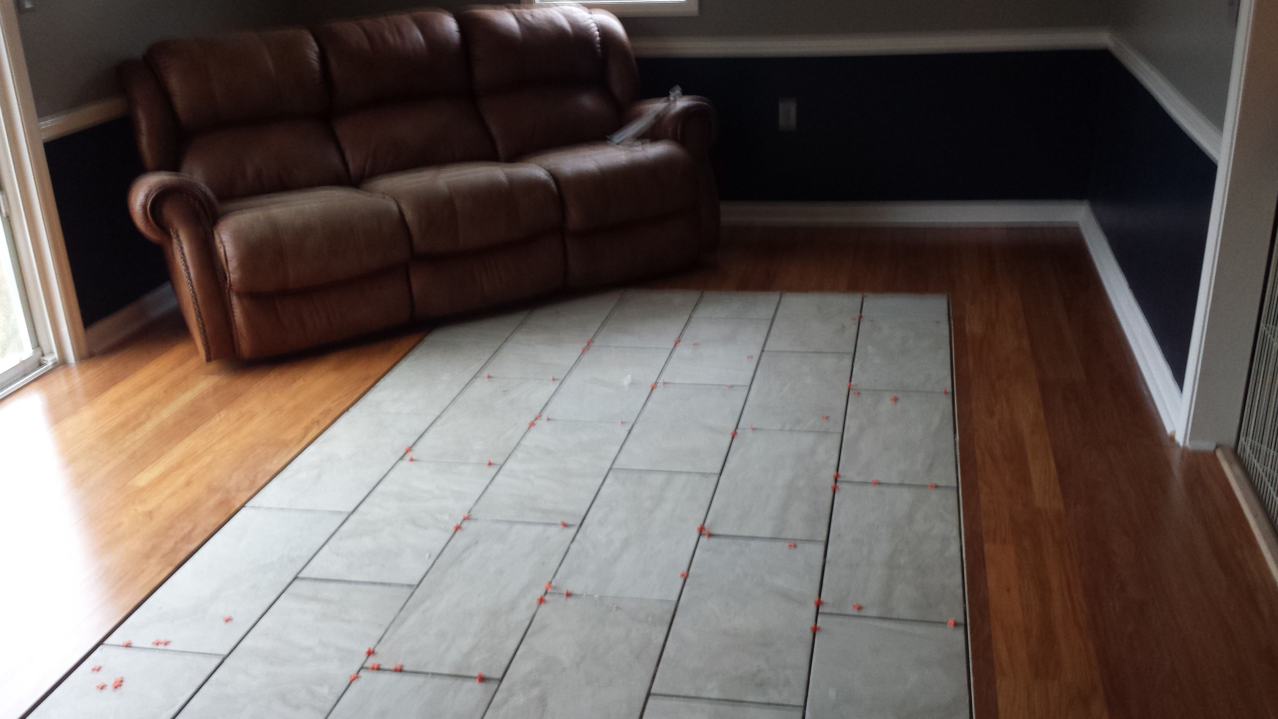 Wood Flooring With Tile Inset