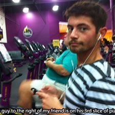 the gym he is eating pizza in planet fitness wow lol lol