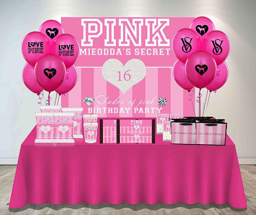Victoria Secret Pink Party Decorations Pink Backdrop Victoria Secret Backdrop Video Games Birthday Party Pink Party Tables Pink Party Decorations