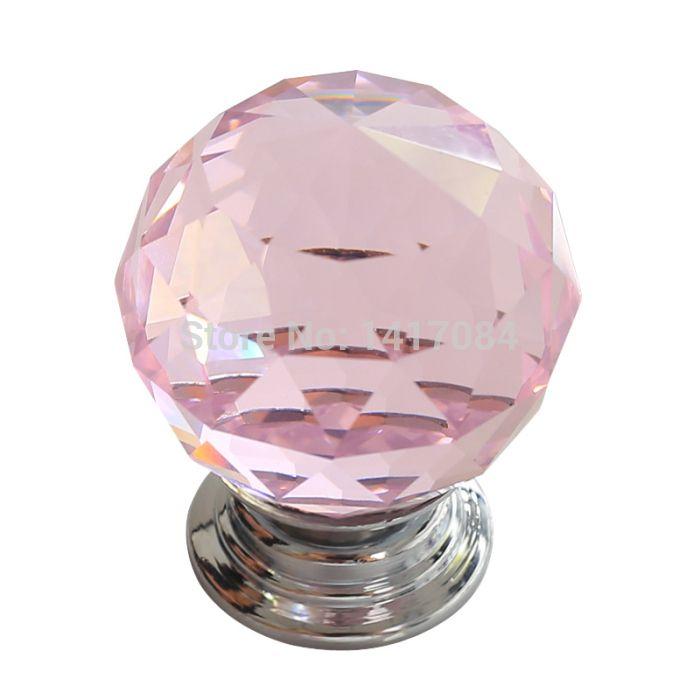 Nuevo 4 unids diámetro 30 mm Pink Glass Crystal perillas de los ...