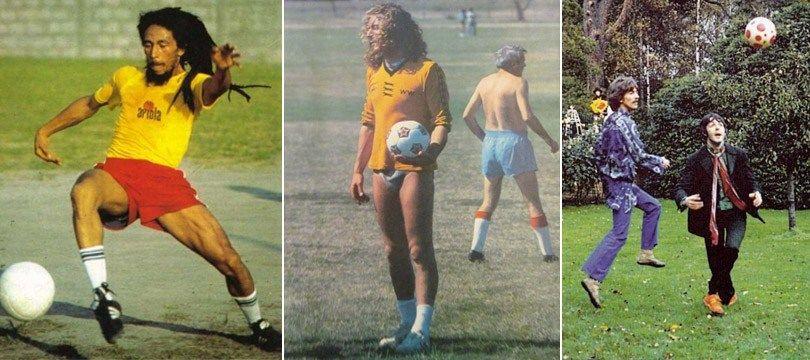 15 fotos de músicos famosos jogando futebol