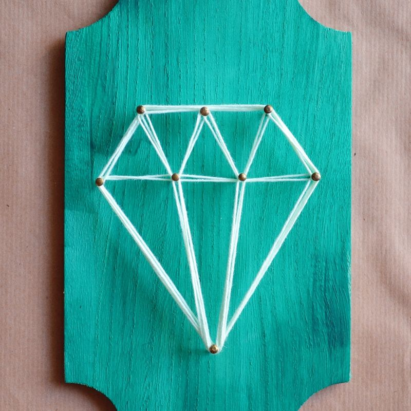 string art wall decoration diy diamond shape d coration murale fil tendu diamant diy. Black Bedroom Furniture Sets. Home Design Ideas