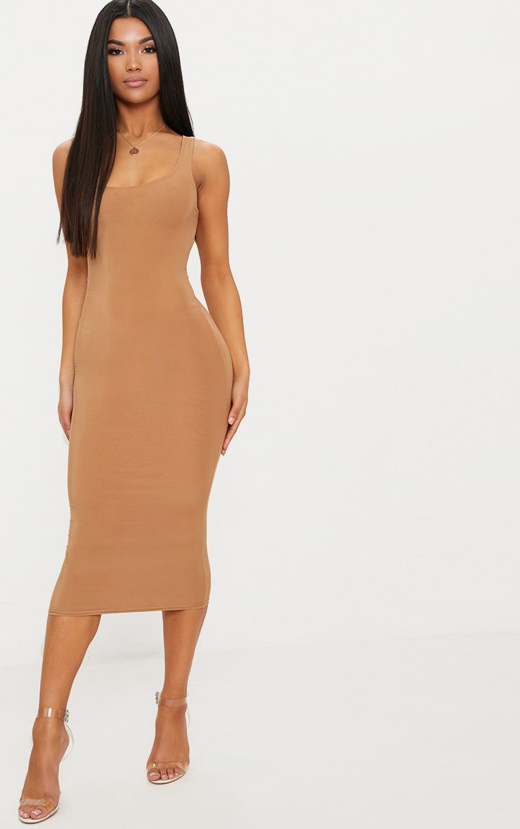 0218c2d2c3c Camel Second Skin Slinky Scoop Neck Midi DressFeel seriously fierce in this  flattering midi dress.