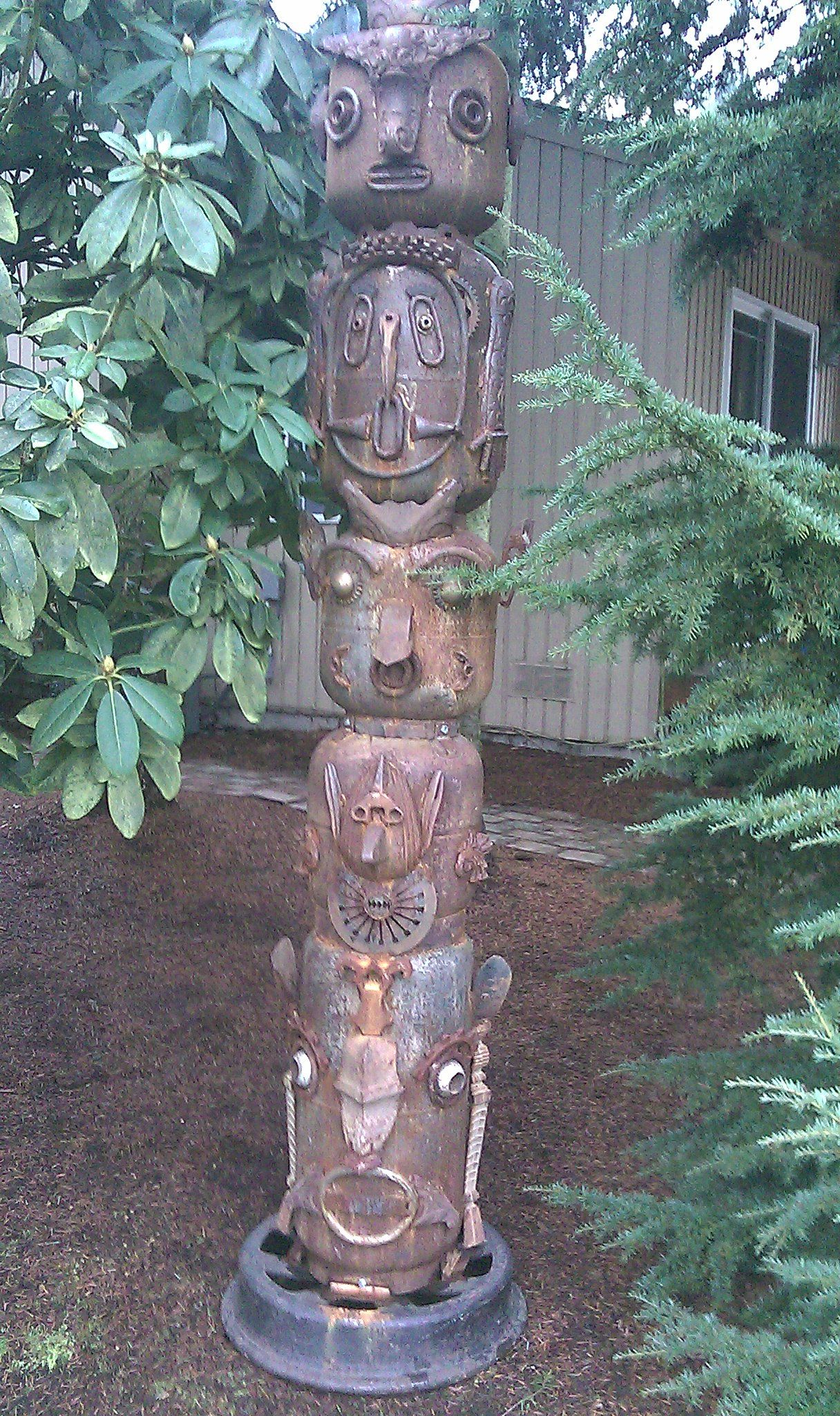 Totem pole made out of found junk and empty propane tanks (Issaquah, Wa).