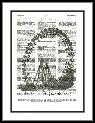Paris La Grande Roue Ferris Wheel French Dictionary Art Print frenchtheme003
