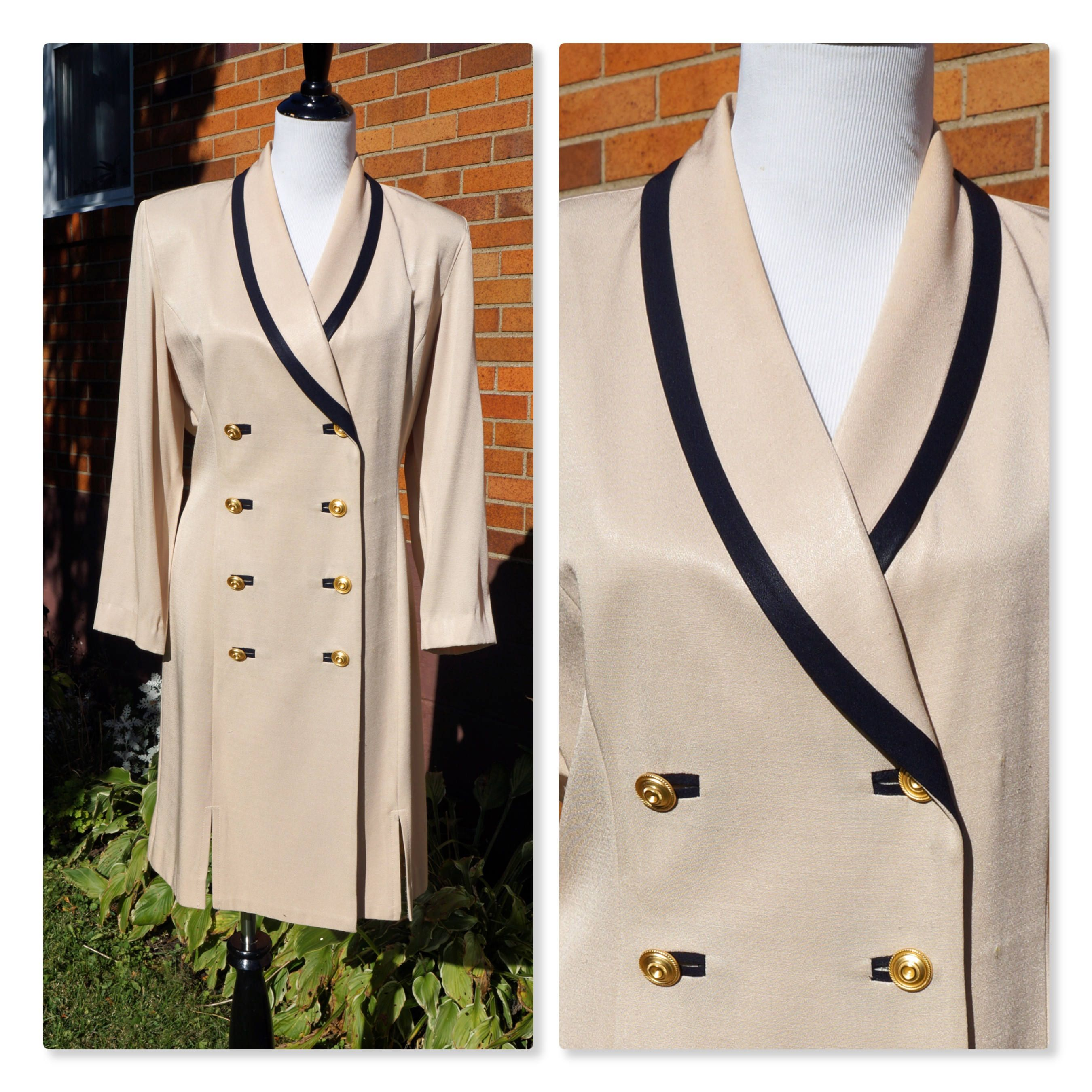 Vintage double breasted dress cream and black gold tone buttons