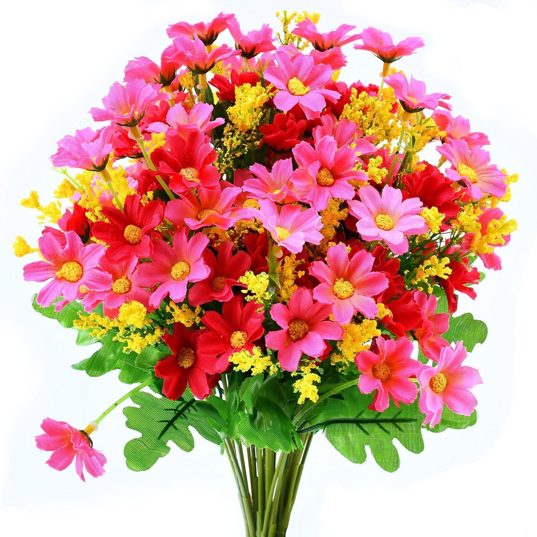 Turelifes 4pcs Artificial Flowers Bouquets Fake Mini Daisy Flower 7