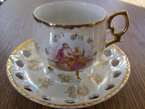 Vintage Japan Tea Cup Saucer Victorian Style With Open Lace Saucer Shape Of Heart Tea Cups Tea Cup Saucer Tea Cups Vintage