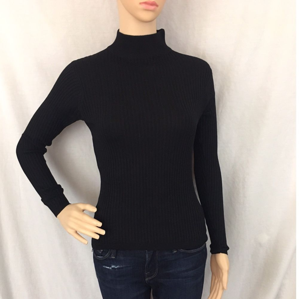 LOUBEN Black Long-sleeve Mock Turtleneck Sweater Silk. Thin Ribbed ...
