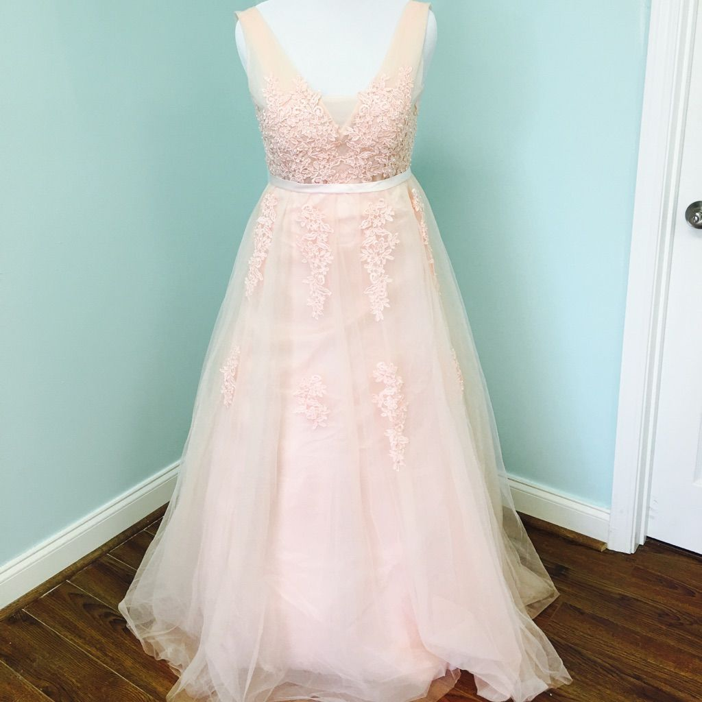 Blush pink wedding dress lace tulle fairy bohemian products
