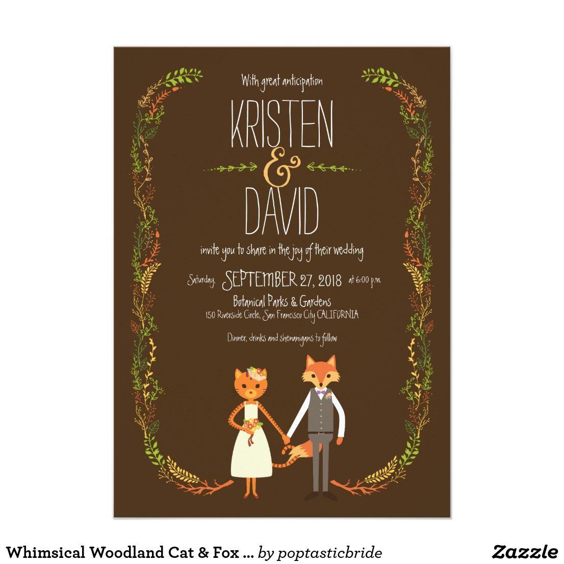 Whimsical Woodland Cat Fox Couple Wedding Card Wedding Card