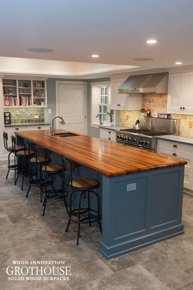 Custom Tigerwood Kitchen Island Top In West Chester Pa Wood
