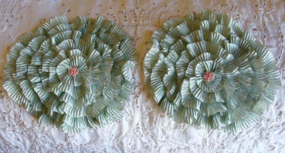 1920s 2 Stunning Ruffled Silk Ribbon Flower Appliques Adorned With Pink Ribbonwork Rosettes