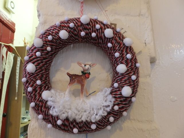 """""""let it snow my deer"""" Christmas wreath Handmade Christmas wreaths are the best. Find inspiration at Hobbycraft http://www.hobbycraft.co.uk/ #christmas #wreaths #christmaswreaths"""