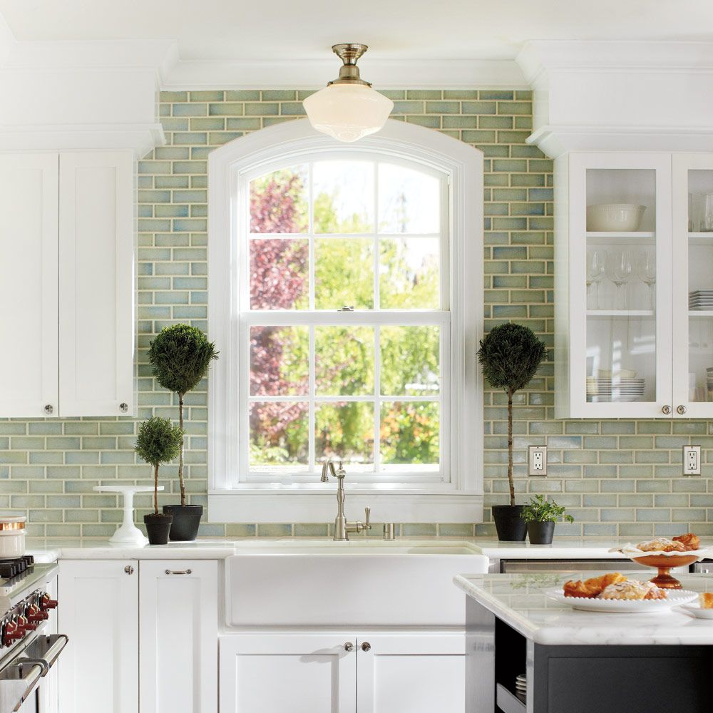 Looking out kitchen window  rejuvenation love this kitchen especially the tile to the